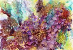 """Morning Kiss""  Watercolour Collage with Unryu paper 15"" x 22""  www.ColoursBySheri.com"