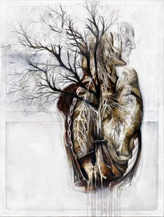 Nunzio Paci uses graphite and oil to create anatomical illustrations in wich he combines the human body with animals and plants. Human Anatomy Art, Anatomy For Artists, Nunzio Paci, Decay Art, Art Du Monde, Art Connection, Growth And Decay, Graffiti, Medical Art