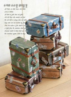 Tiny wooden Vintage suitcases! DIY