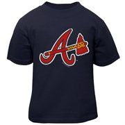 Atlanta Braves Infant Distressed Mascot T-Shirt - Navy Blue