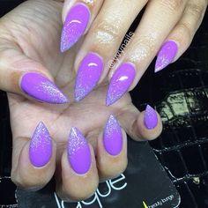 Lilac Glitter Stiletto Nails