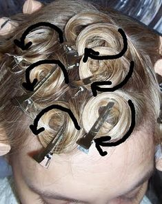 "Pin-curl Pattern ""The above picture demonstrates a close up of what they curls should look like. It is very important to alternate the directions of the curls."""