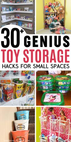 30 + Easy Clever Toy Organisation Ideen Take control of toy chaos with these clever toy organization ideas. With genius storage ideas, you're guaranteed to take control of toy chaos for good. Perfect for small or big spaces these are toy storage solut Toy Storage Solutions, Diy Toy Storage, Kids Storage, Storage Ideas, Kitchen Storage, Nursery Storage, Doll Storage, Kids Bedroom Storage, Closet Solutions