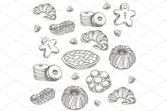 hand drawn sketch confections dessert pastry bakery products donut, pie, croissant, cookie by undrey on @creativemarket