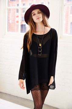 Silence + Noise Oversized Chiffon Top - Urban Outfitters