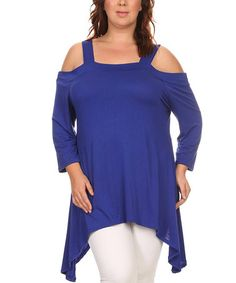 This Royal Blue Off-Shoulder Sidetail Tunic - Plus is perfect! #zulilyfinds