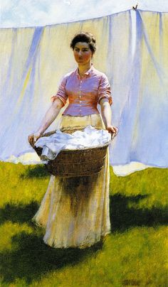 Hanging Out the Clothes (Charles Courtney Curran - 1887)   Smelly Towels?   Stinky Laundry?  Washer Odor?   http://WasherFan.com   Permanently Eliminate or Prevent Washer & Laundry Odor with Washer Fan™ Breeze™  #Laundry #WasherOdor#SWS