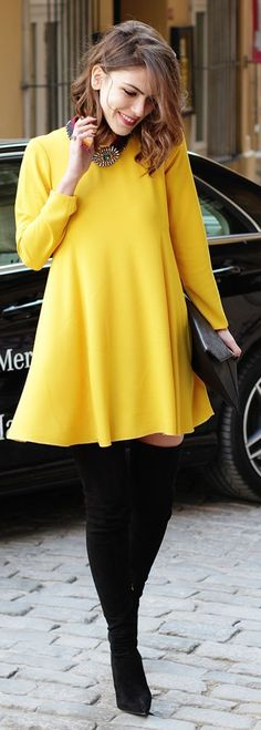 Yellow dress, statement necklace and over the knee boots