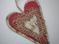 Rustic, Shabby Heart Ornament-For Valentines Day,  Holiday, Package or Wedding Decorations. $5.00, via Etsy.