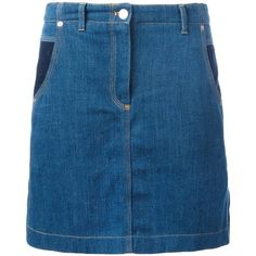 Kenzo denim skirt (2.920 ARS) ❤ liked on Polyvore featuring skirts, blue, a-line skirt, button front a line skirt, knee length a line skirt, blue denim skirt and button-front denim skirts