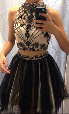 Black High Neck Two Piece Cocktail Dress With Beading homecoming dresses 2 pieces prom dress