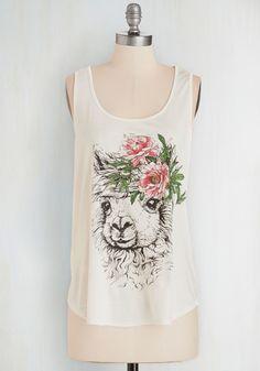 Boho Se Llama? Top - Jersey, Sheer, Knit, White, Multi, Print with Animals, Casual, Boho, Quirky, Festival, Sleeveless, Summer, Scoop, Mid-length, White, Sleeveless