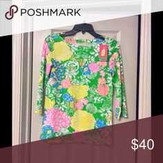 NWT Juline Top Hibiscus Stroll XS Great spring top, 3/4 length sleeve. Lilly Pulitzer Tops Blouses