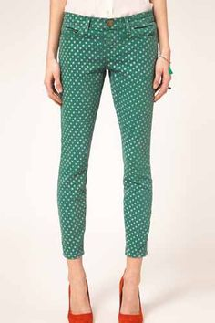 Latest Fashion Clothes, Look Fashion, High Fashion, Womens Fashion, Fashion Trends, Patterned Jeans, Printed Denim, Polka Dot Print, Polka Dots
