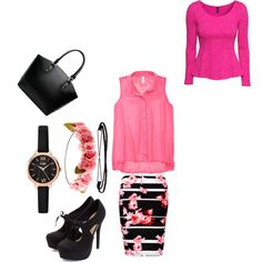 Pink and black beauty! So gorg! Made by Nataly3198 on polyvore!