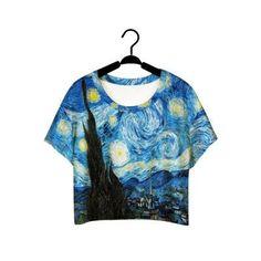 F978 Summer Harajuku Style Girls Van Gogh Leisure Crop Top Graffiti Painting Women Vintage T-shirt Casual Tee