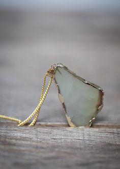 Khaki Agate Geode Slice Necklace Boho Gold Olive Beige Pendant Long Necklace…