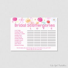 Scattergories Game - Floral Scattergories - Game - Fuchsia Pink Bridal Shoer - Printable Bridal Shower Scattergories Game - 0005W