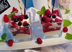 Tvarohovo-smetanový pohár s jahodovým rozvarem recept - TopRecepty.cz Waffles, Raspberry, Pudding, Treats, Fruit, Breakfast, Instagram, Food, Deserts