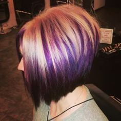 Image result for blonde bob with purple highlights