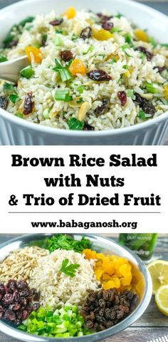 Brown Rice Salad with Nuts and Dried Fruit | Babaganosh.org #sponsored
