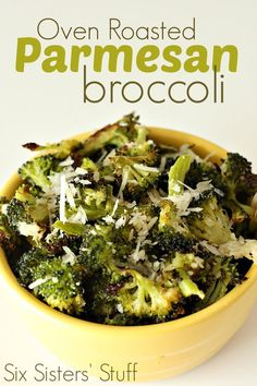 Oven-Roasted Parmesan Broccoli from SixSistersStuff. Even broccoli haters will eat this dish!.