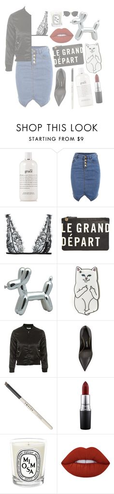 """""""Le grand départ"""" by mode-222 ❤ liked on Polyvore featuring philosophy, La Perla, Clare V., RIPNDIP, Topshop, Tom Ford, Kent, MAC Cosmetics, Diptyque and Lime Crime"""