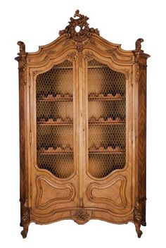 Antique French Walnut Armoire Converted to Wine Cabinet. Repurpose. Wine Cellar.