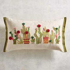 Embroidered Desert Cactus Lumbar Pillow #lumbar#pillow#unique