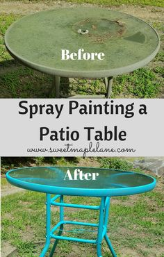 Spray Painting a Patio Table - Sweet Maple Lane How to spray paint on your . Spray Painting a Patio Table – Sweet Maple Lane How to spray paint on your patio table and make it look fre Painting Patio Furniture, Painted Outdoor Furniture, Spray Paint Furniture, Patio Furniture Makeover, Metal Patio Furniture, Outside Furniture, Garden Furniture, Furniture Ideas, Furniture Layout