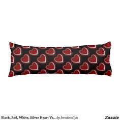Black, Red, White, Silver Heart Valentine Pillow Body Pillow
