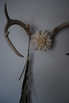 Deer Antlers with Flowers & Pheasant Feathers  Wall by hunterdear, $115.00