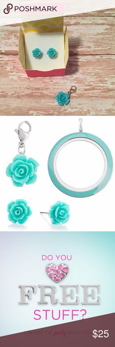 Aqua Rose Set Set includes Aqua Rose earrings & dangle. Brand new in box! This is a beautiful set 💙 if you're interested in Origami Owl jewelry and getting some for free 😁 I'd love to set you up as a hostess! Origami Owl Jewelry Earrings