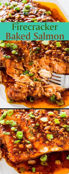 Firecracker Baked Salmon with Salmon Fillet Green Onions Garlic Fresh Ginger Olive Oil Soy Sauce Brown Sugar Crushed Red Pepper Flakes Sriracha Sauce Ground Black Pepper. Salmon Dishes, Fish Dishes, Seafood Dishes, Seafood Recipes, Dinner Recipes, Cooking Recipes, Healthy Recipes, Meal Recipes, Food52 Recipes