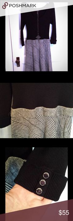 WHBM sweater dress with houndstooth skirt. NWOT 💖 White House Black Market knee length sweater dress with attached houndstooth skirt. New without tags; never worn. Elbow length sleeves with shiny silver button accents on cuffed sleeves. Missing belt - would look great with a wide black belt. White House Black Market Dresses Long Sleeve