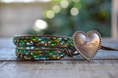 Adjustable Beaded and Engraved Double Wrap Bracelet by linksofhope