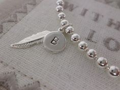 Remembrance Memorial Bracelet with Sterling Silver Personalised Initial Charm