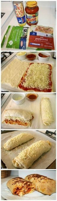 Cheese Stick Roll Ups Easy Pizza Roll-Ups Recipe-made this and it was tasty. Bake at 375 degrees for 20 minutes.Easy Pizza Roll-Ups Recipe-made this and it was tasty. Bake at 375 degrees for 20 minutes. I Love Food, Good Food, Yummy Food, Pizza Roll Up, Comida Diy, Calzone Recipe, Roll Ups Recipes, Food Dishes, Main Dishes