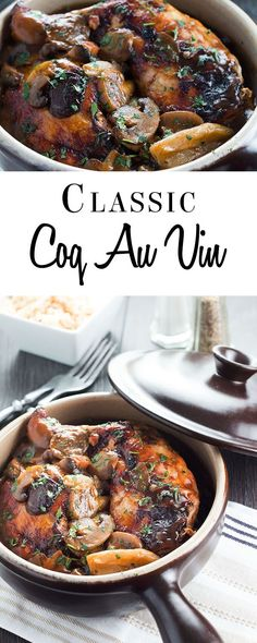 This recipe for Classic Coq Au Vin makes a comforting, tasty chicken stew with a delicious wine sauce, mushrooms bacon and shallots. via Kitchen (French Chicken Stew) Stuffed Mushrooms, Stuffed Peppers, Wine Sauce, Carne, Main Dishes, Chicken Recipes, Dinner Recipes, Dinner Ideas, Cooking Recipes