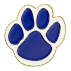 PinMart's Blue and White Animal Paw Print School Mascot Enamel Lapel Pin - CD11TH97DZ7 - Brooches & Pins  #jewellrix #Brooches #Pins #jewelry #fashionstyle