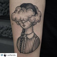 Tattoo by @suflanda #immerundewigtattooing #hamburg Head in the clouds, thank you so much @ahoimaedchen ❤️