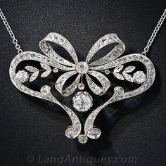 Edwardian Diamond Bow Necklace - 90-1-4536 - Lang Antiques
