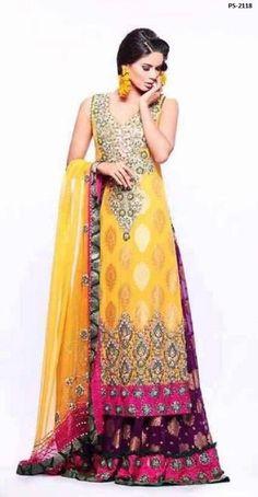 e308b7ab39b Pakistani Wedding Anarkali Dress Mehndi Sangeet Lehnga Kameez Plus Size PS-2118   EthnicDresses  SalwarKameez