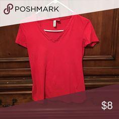 T-shirt Red v-neck t-shirt Tops Tees - Short Sleeve