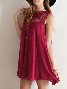 burgundy boho crochet lace dress