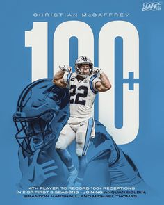 The year redefined the RB position. The Big Four, 3 In One, Brandon Marshall, Christian Mccaffrey, Michael Thomas, Sports Graphic Design, National Football League, Panthers, Nfl Football