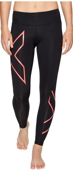 a299551a50 2XU Mid-Rise Compression Tights (Black/Fiery Coral) Women's Workout - 2XU