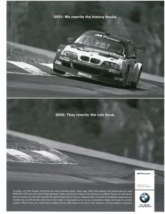 http://chicerman.com  myheartpumpspetrol:  bmwusaclassic:  BMW of North Americas famous print ad from the end of the 2001 ALMS season when the protests by Porsche resulted in a rules change that made the M3 GTR V-8 ineligible/non-competitive in the American Le Mans Series and caused BMW to withdraw from the series for 2002.  #cars
