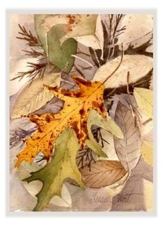Fallen Leaves Watercolor Thanksgiving Greeting Card by Susie Short