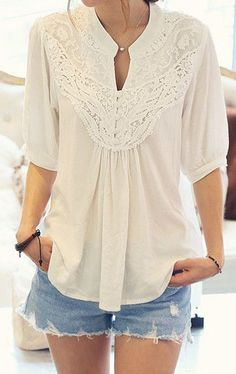 Crochet Floral Blouse - White i have something similar to the shirt to make this outfit